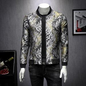 Casual Slim Fit Manica Lunga sociale cappotti Uomini Vento Breaker Outwear Autunno Giacche Uomo della moda di New Jacket di lusso Stampa Bomber