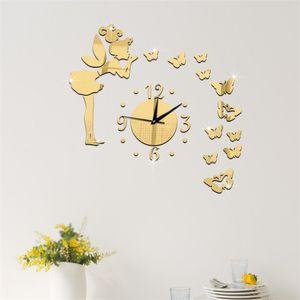 سطح مرآة الاكريليك الكوارتز ساعة الحائط 3d الجنية نجوم الفراشة ملصق الاطفال غرفة المعيشة الساعات فن زخرفة المنزل تشاو
