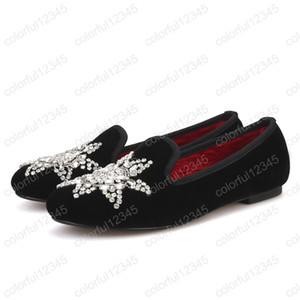 New style big strass femmes chaussures de velours de fête et de mariage femmes mocassins mode fumer des pantoufles appartements de femmes