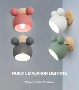 Nordic Wandleuchten aus Holz niedlich coloful Wandleuchten Küche Restaurant Makronen Dekorative Nachttischlampe E27 Le101