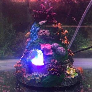 Aquário Resin Ornamento Rockery Escondendo Caverna Camarão Evite Ocultar Caverna Fish Tank LED Underwater Light Air Pedra Decoração Bubbles
