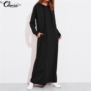 Celmia más el tamaño de las mujeres Maxi vestido de otoño con capucha para niños Mujer de manga larga hoodies suéter Vestido Robe Femme MX200506
