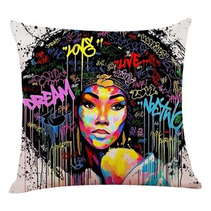Chica Señora pintura al óleo funda de almohada Mujeres Home Arte Decoración Sofá almohadilla de tiro de la caja de algodón de lino del amortiguador de la cubierta 45x45cm