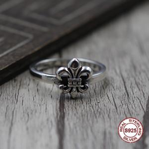 S925 anillo de plata pura para hombre con personalidad retro El estilo punk La nave lateral delgada ancla el anillo Regalo para su amante
