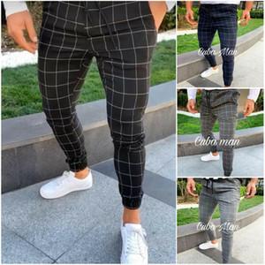 Hot Pantalons de sport pour hommes longue Plaid Survêtement Skinny élastique Fit Workout Joggers Sweatpants Casual Male Pantalons Casual M-3XL