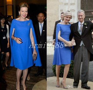 Elegant Royal Blue Mother Of The Bride Dresses Knee Length Mother's Dresses With Wrap Formal Weding Party Dress Celebrity Gowns Plus Size