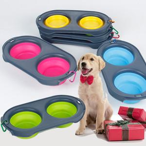 실리콘 접는 강아지 그릇 애완 동물 피더에 대 한 확장 가능한 컵 요리 음식 물 Carabiner WX9-1332와 휴대용 여행 그릇 휴대용 그릇