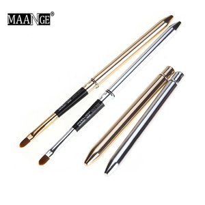Collapsible Gold Silver Lips Makeup Brush Pen Metal Handle Cosmetic Lipgloss Lipstick Lip Gloss Brush With Protect Cap