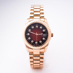 Top qualité étanche calendrier marque de mode rose or hommes incrusté de diamants britanniques dames de mariage montres avec boxw