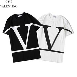 2020 nouveau T-shirt de coton de haute qualité marque lettre grand V manches courtes col rond hommes en noir et blanc et pour les femmes occasionnels