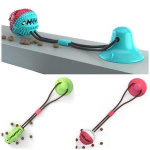 Haustiere Doggy Katzen Leaky Lebensmittel-Kugeln mit Saugnapf Eco Friendly TPR Kausnack Ball Spielzeug Pet Supplies 40cm Länge 20YC E1 Biting