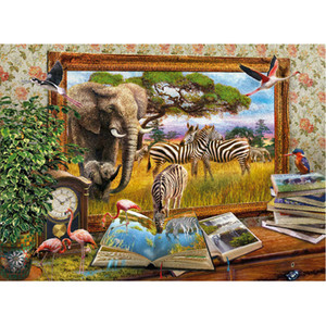 Elephant Zebra Animal Full Drill DIY 5D Round Rhinestone Embroidery Diamond Painting Cross Stitch Kits Mosaice Ornamental
