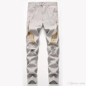 Unique Mens Wing Embroidery Ripped Skinny Jeans Fashion Designer Vintage Straight Leg Slim Fit Motocycle Scratched Biker Denim Pants JB8735