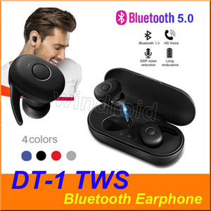 DT-1 DT1 TWS Mini Bluetooth V5.0 Earphone Wireless Earbuds True Stereo Sport Headphones headset earbuds with Charging box 4 colors cheapest