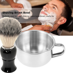 Caneca de Barbear dos homens Tigela Escova De Aço Inoxidável Barba Bigode Rosto Sabão Copo de limpeza Para O Salão de Barbeiro