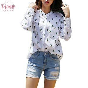 Kızlar Kadınlar Casual Uzun Kollu T Shirt Tatlı Sevimli Solid Cactus Baskılı Mandarin Yaka Beyaz Drop Shipping Tops