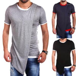 Casual designer di abbigliamento irregolare Mens estate magliette girocollo manica corta di colore solido Homme Abbigliamento Moda Stile