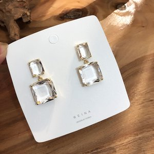 2019 Korean New Design Fashion Jewelry Double Square Earrings Luxury Transparent Glass Crystal Party Earrings for women gift