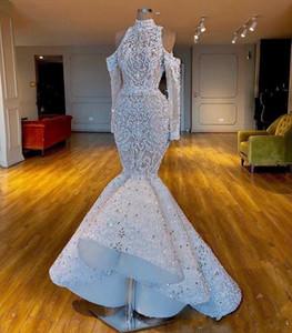 Luxurious 2020 imagens reais South African Dubai Vestidos de noiva sereia alta pescoço frisada Cristais nupcial vestidos de mangas compridas vestidos de casamento