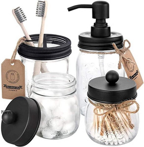 Mason Jar Lids Set(4pcs) - Jar Not Included -Black Soap Dispenser Toothbrush Holder Apothecary Storage Jars Lids Bathroom Accessories IIA155