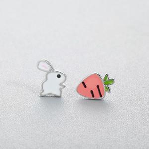 Sevimli Hayvan Bunny Tavşan Havuç Saplama Küpe Kadınlar için Emaye Asimetri Çocuk Kızlar için Yaratıcı Karikatür Kulak Takı