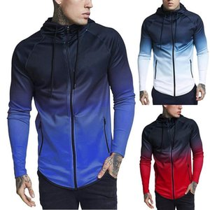 Hoodies Fashion Active Style Gradient Color Elastic Long Sleeved Hooded Cardigan Hoodies Mens Apparel Autumn Mens Designer