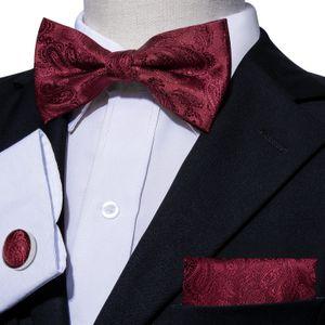Modo del partito trasporto veloce Papillon floreale rosso Designer Imposta con il fazzoletto gemelli per i Mens Luxury Business Wedding LH-826