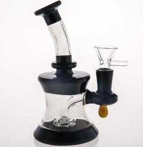 Dos Fuction Negro Bong 15cm altos tubos de vidrio de rayas de agua Bongs 14,4 mm Conjunto Bowl en acciones Pipas de agua Vaso Smokiing Tubos