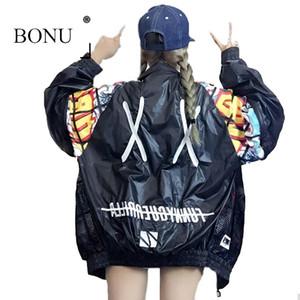 Bonu New Выдвижная задняя куртка-бомбер с вышивкой в стиле унисекс Ослабленная куртка Студентка Harajuku Негабаритных женские базовые пальто S19824