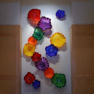 Handmade Blown Glass Wall Lamps American Style Customized Murano Flower Wall Sconce Art Design Wall Decor Free Shipping