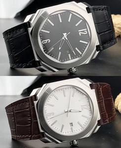 42mm Octo Date 101964 Cadran Noir Quartz / Automatique Montre Homme - Bracelet Acier - Bracelet Cuir Montre de Haute Qualité
