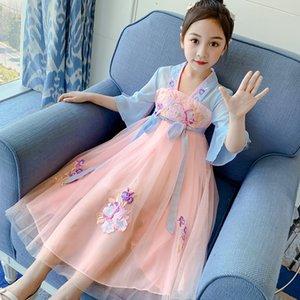 Hanfu çocuklar Çinli etek kız oryantal Çince Style Retro Dress Hanfu Cosplay Çocuklar Tang Suit Prenses Hanfu elbise