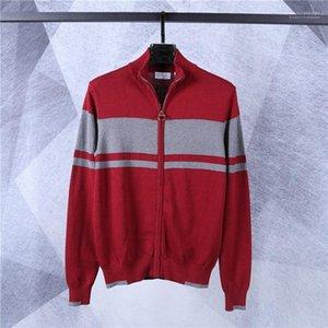 Mens Zipper Cardigan Sweaters Casual Males Clothing Crocodile Brand Mens Designer Sweaters Fashion Warm Stripe Panelled