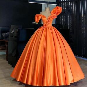 Оранжевый Quinceanera платья бальное платье плиссированные рябить с плеча Юниор выпускного вечера платья плюс размер платья материнства