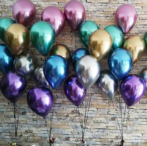 2019 Nuova lucido metallo perla del lattice Balloons Spesso metallo cromato Colori gonfiabile Air Balls Globos compleanno / decorazione del partito 12inch 50Pcs / Set