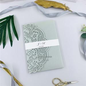 Специальный Silver Laser Pocketfold Свадебные приглашения с RSVP карты и живот Band, лазерная Приглашения для Weddings Event