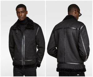 Mens Designer Manteaux d'hiver noir en fausse fourrure épaisse de luxe veste double face fourrure Mode Hommes Manteaux