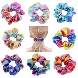Women Elegant Hair Scrunchies Laser Hairbands Gradient color Hair Band Ties for Girls Headband Lady Hair Accessories