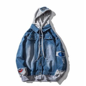 Spring Men Oversize Denim Mens Hooded Jackets Plus Size 3XL Hip Jeans Jacket Male Clothing
