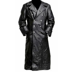 Мужской новый стиль средневековый Винтаж кожаная одежда чистая длинная кожаная куртка тренч пальто Мужская одежда уличная ветровка 12.25