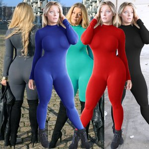 free ship Solid color Womens jumpsuit high elastic tights tight sexy long-sleeved sports and leisure fitness jumpsuit