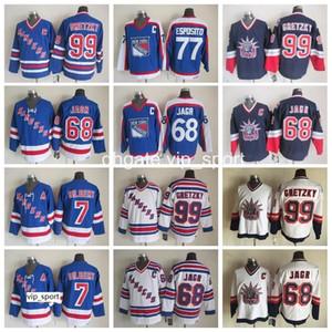 Rangers de New York 77 Maillot Phil Esposito Hommes 99 Wayne Gretzky Maillots de Hockey sur Glace Vintage 68 Jaromir Jagr 7 Rod Gilbert