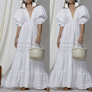 White Boho Dress Women Holiday Lace Hollow Out Sundress Puff-sleeve Sexy Solid V-neck Maxi Dress Autumn Female Party Dress 2020 T200604