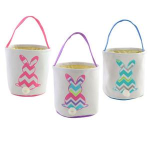 Conejito de pascua canasta bolsas para niños bordado ondulado conejos de Pascua cestas bolsos Totes 4 colores 50PCS CNY1229