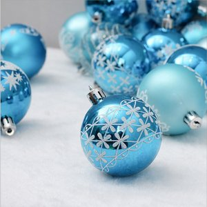 6cm24pc blue painted Christmas tree decoration ball party hanging ball home Christmas gift decoration