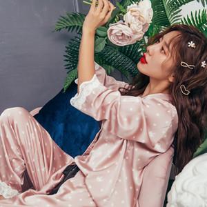 Son Seksi kar tanesi Pijama Dantel Kadınlar pijamalar Sahte İpek Saten Nightgowns Uzun Kollu Pijama Takım Elbise Kadın Homewear XA151F