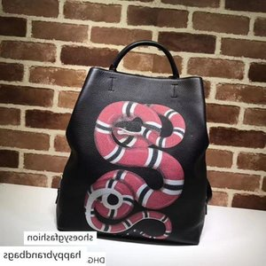 Celebrity Letter embossed Snake animal canvas leather Backpack Real Leather Man Woman 451000 Travel bag