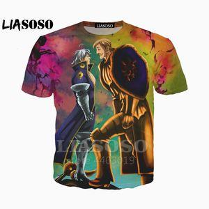 LIASOSO Новое Аниме Семь Смертных Грехов Nanatsu No Taizai футболка хип-хоп 3D принт уличная одежда Рубашки Harajuku Смешная футболка As09