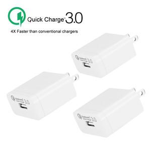QC3.0 Chargeur Charge rapide Adaptateur Voyage pour iPhone Chargeurs rapide Accueil Prise pour téléphone mobile avec Opp Package