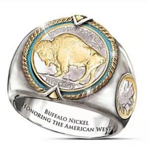 Buffalo Nickel Gedenkfeier, Western-Cowboy-Viking Pirate Zwei-Farben-Ring der Männer